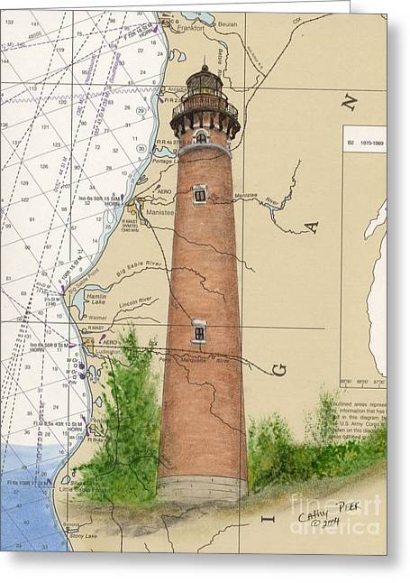 Nautical Chart Greeting Cards - Little Sable Lighthouse Lake MI Nautical Chart Map Art Cathy Peek Greeting Card by Cathy Peek