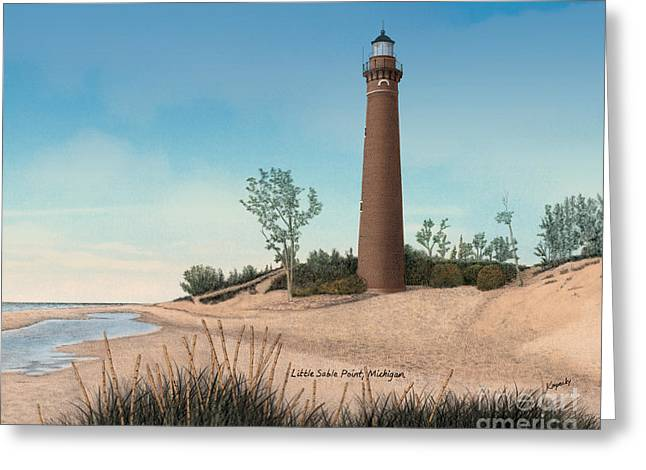 Darren Mixed Media Greeting Cards - Little Sable Point Lighthouse Titled Greeting Card by Darren Kopecky
