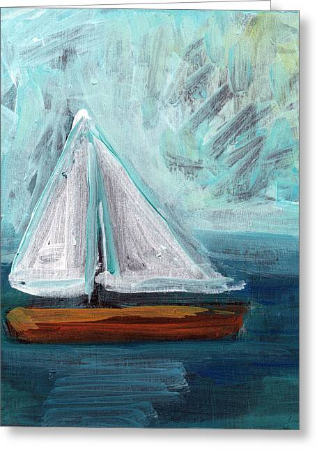 Blue Sailboat Greeting Cards - Little Sailboat- Expressionist Painting Greeting Card by Linda Woods
