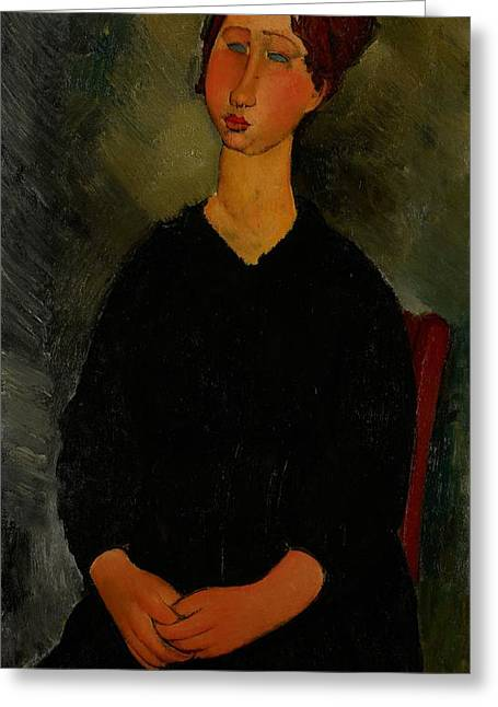 Little Black Dress Greeting Cards - Little Servant Girl Greeting Card by Amedeo Modigliani