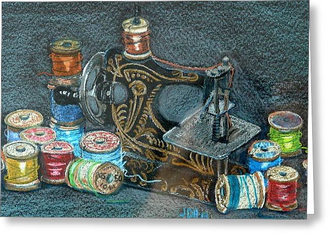 Photographs Pastels Greeting Cards - Little Sewing Machine And Thread Greeting Card by Joseph Hawkins