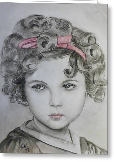 White Paintings Greeting Cards - Little Shirley Temple Greeting Card by Kelly Mills