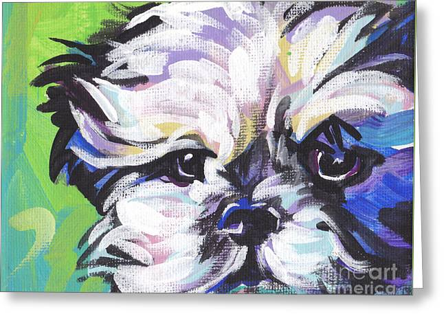 Dog Portraits Greeting Cards - Little Shitz Greeting Card by Lea