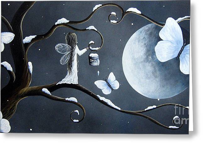 White Dress Paintings Greeting Cards - Little Snow Fairy by Shawna Erback Greeting Card by Shawna Erback