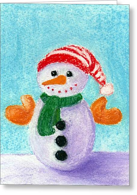 Kid Pastels Greeting Cards - Little Snowman Greeting Card by Anastasiya Malakhova
