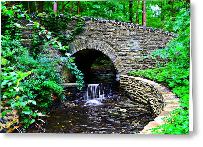 Stream Digital Greeting Cards - Little Stone Bridge and Waterfall Greeting Card by Bill Cannon