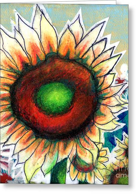 Genevieve Esson Drawings Greeting Cards - Little Sunflower Greeting Card by Genevieve Esson