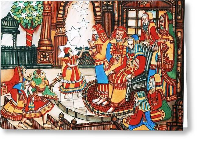 Indian Art Greeting Cards - Little-Teacher Greeting Card by Bhanu Dudhat