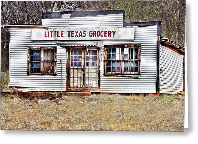 Small Towns Mixed Media Greeting Cards - Little Texas Grocery Greeting Card by Bellesouth Studio