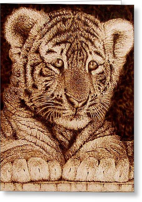 Monochrome Pyrography Greeting Cards - Little Tiger Greeting Card by Cara Jordan