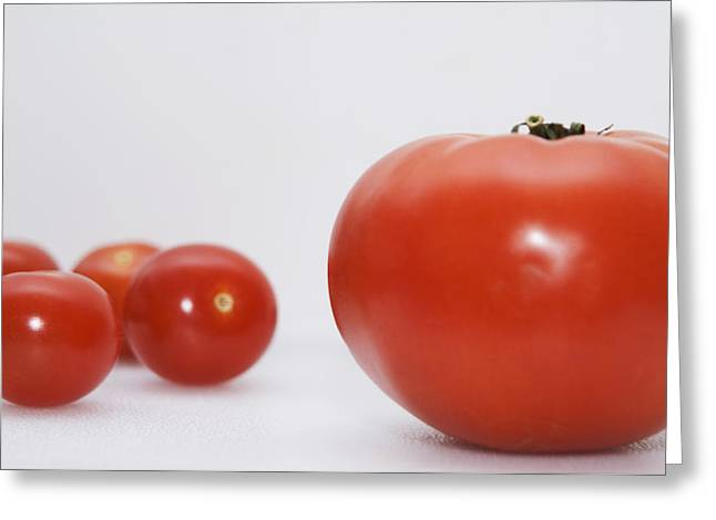 Descriptors Greeting Cards - Little Tomatoes And One Big Tomato Greeting Card by Marlene Ford