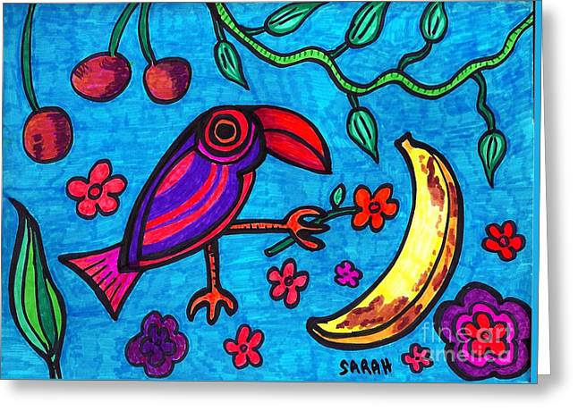 Sarah Loft Drawings Greeting Cards - Little Toucan Greeting Card by Sarah Loft