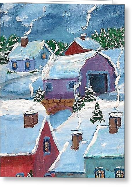 Maine Spring Paintings Greeting Cards - Little Town At Night Greeting Card by MarLa Hoover