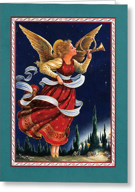 Angel Greeting Cards - Little Town of Bethlehem Greeting Card by Lynn Bywaters
