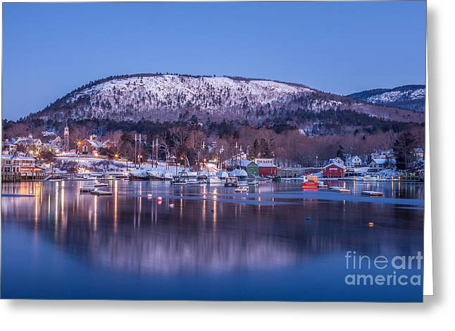 Winter In Maine Greeting Cards - Little Town of Camden Greeting Card by Susan Cole Kelly