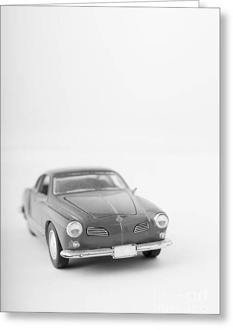 Childs Play Greeting Cards - Little Toy Car Black and White Greeting Card by Edward Fielding