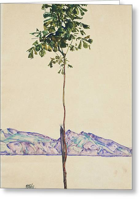 Distortion Paintings Greeting Cards - Little Tree Greeting Card by Celestial Images