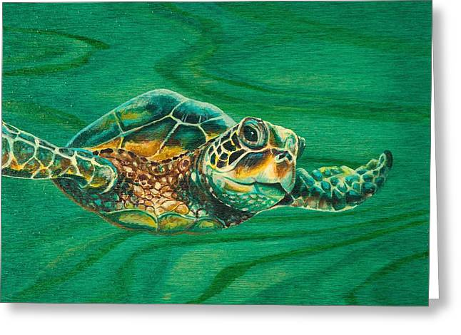 Recently Sold -  - Snorkel Greeting Cards - Little Turtle Greeting Card by Emily Brantley