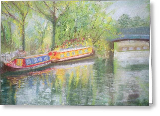 Barge Greeting Cards - Little Venice, Regents Canal, 1996 Oil On Canvas Greeting Card by Sophia Elliot