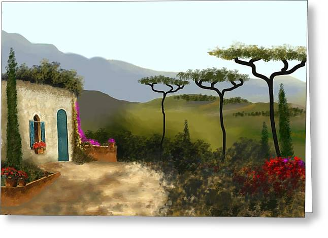 Little Villa Of Tuscany Greeting Card by Larry Cirigliano