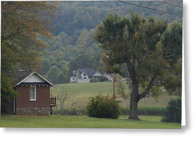 Autumn In The Country Digital Art Greeting Cards - Little Village In The Valley In Early Autumn Greeting Card by Rosemarie E Seppala