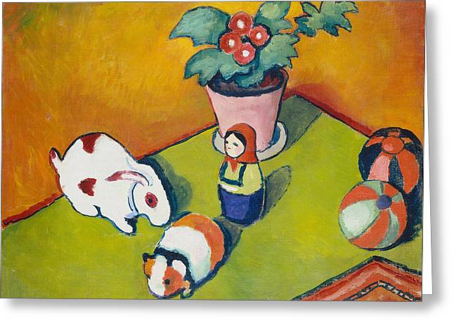 Macke Greeting Cards - Little Walters Toys Greeting Card by August Macke