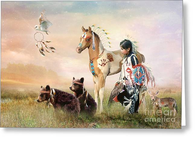Painted Ponies Greeting Cards - Little Warriors Greeting Card by Trudi Simmonds