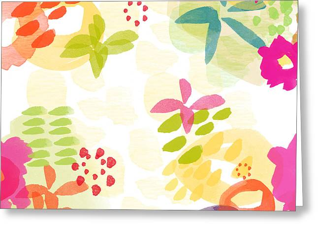 Little Watercolor Garden Greeting Card by Linda Woods