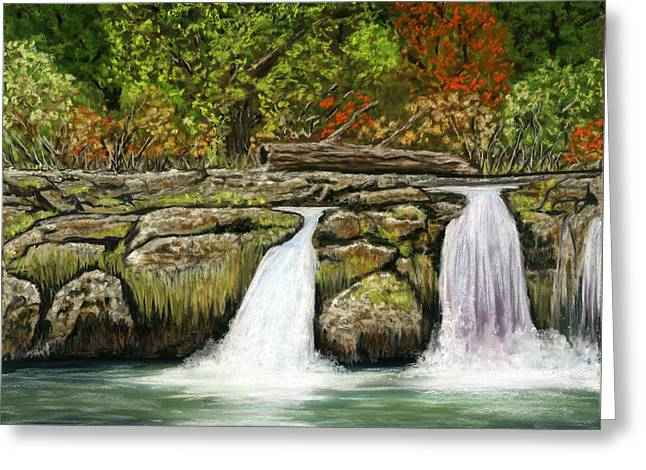 Waterfall Pastels Greeting Cards - Little Waterfalls Greeting Card by Sarah Dowson