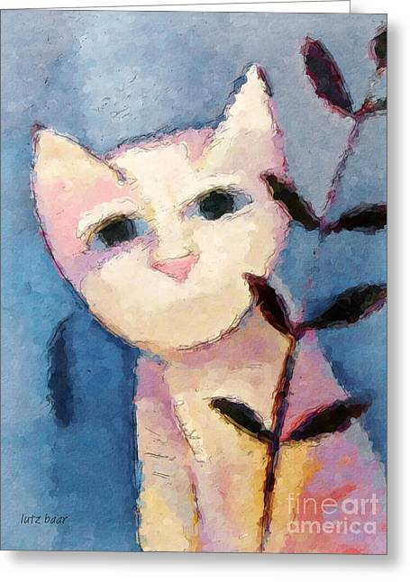 Bestseller Greeting Cards - Little white Cat Greeting Card by Lutz Baar