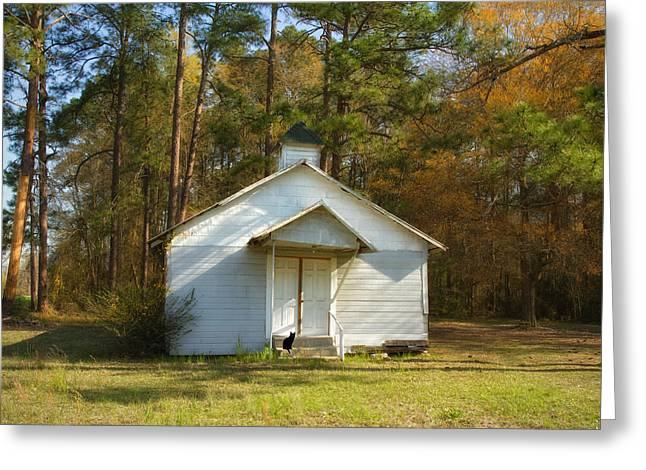 Rural Church Greeting Cards - Little White Church Greeting Card by Kim Hojnacki