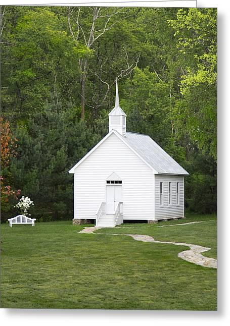Religious Digital Art Greeting Cards - Little White Church Greeting Card by Mike McGlothlen