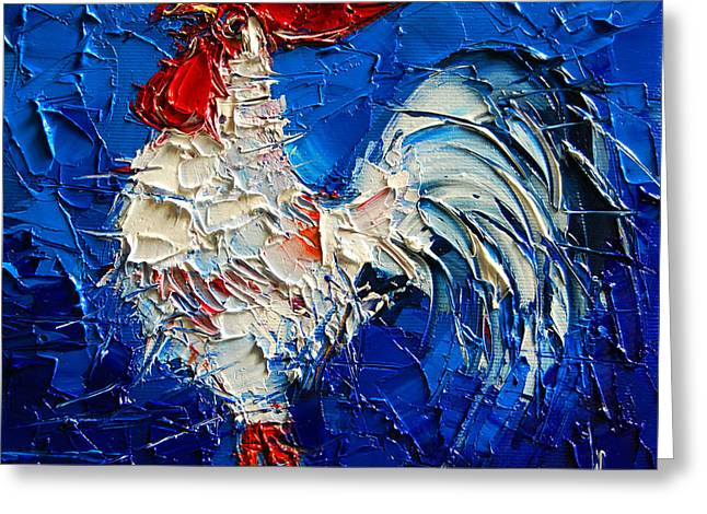 Red Claws Greeting Cards - Little White Rooster Greeting Card by Mona Edulesco
