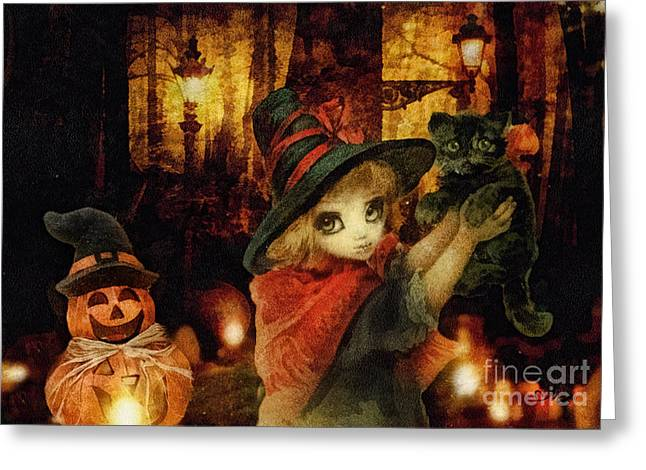 Witch Cat Greeting Cards - Little Witch Black Cat and Pumpkin Greeting Card by Mo T