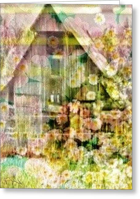 Flower Pink Fairy Child Greeting Cards - Little Witch Cottage Greeting Card by PainterArtist FIN