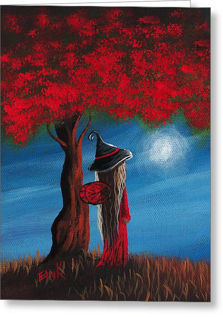 Forest At Night Greeting Cards - Little Witch Fairy Original Artwork Greeting Card by Shawna Erback