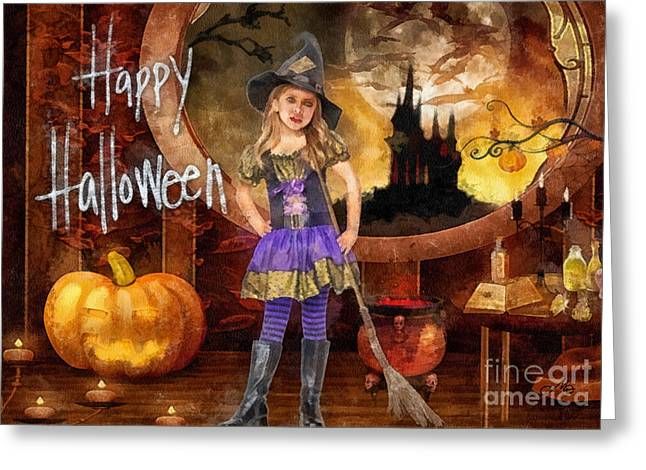 Pumpkins Mixed Media Greeting Cards - Little Witch Greeting Card by Mo T