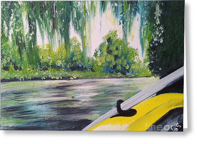Weeping Greeting Cards - Little Yellow Boat Greeting Card by I F Abbie Shores