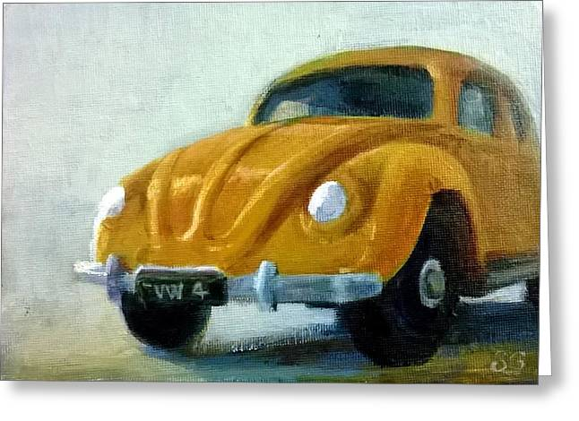 Vw Beetle Paintings Greeting Cards - Little Yellow Taxi Greeting Card by Sue Gardner