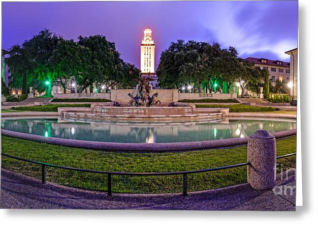 Ut Tower Greeting Cards - Littlefield Fountain at the University of Texas in Austin ATX 512 Greeting Card by Silvio Ligutti