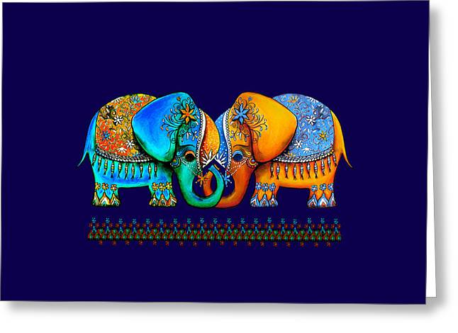 Linked Mixed Media Greeting Cards - Littlest Elephant Love Links Greeting Card by Karin Taylor