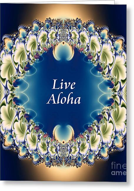 Gold Necklace Digital Art Greeting Cards - Live Aloha Greeting Card by Renee Trenholm