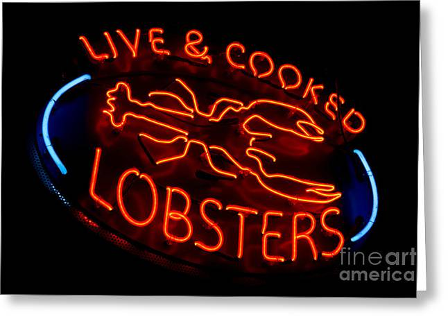 Fluorescent Lights Greeting Cards - Live and Cooked Lobsters Old Neon Light Store Sign Greeting Card by Olivier Le Queinec