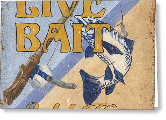 Vintage Boat Greeting Cards - Live Bait Greeting Card by Debbie DeWitt