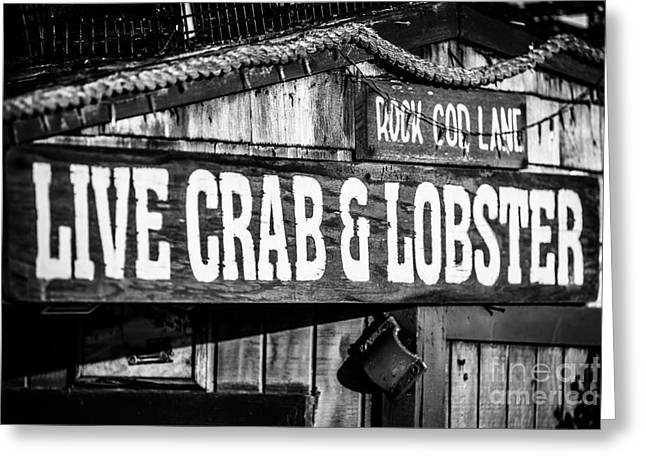 Fish Market Greeting Cards - Live Crab and Lobster Sign on Dory Fish Market Greeting Card by Paul Velgos