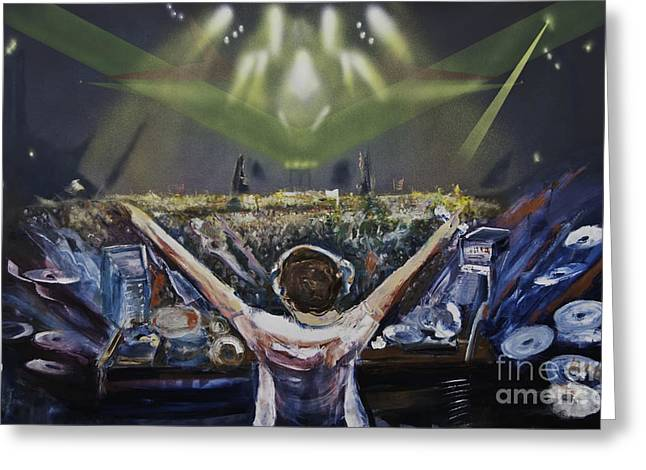 Pyrotechnics Paintings Greeting Cards - Live DJ Greeting Card by James Lavott