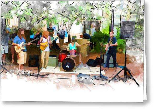 Asheville Mixed Media Greeting Cards - Live from Pritchard Park Greeting Card by John Haldane