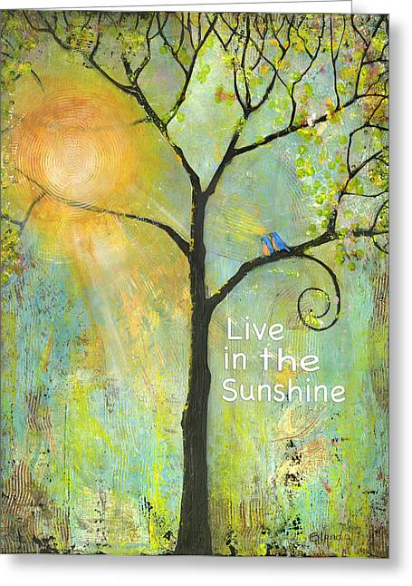 Unique Art Mixed Media Greeting Cards - Live in the Sunshine Greeting Card by Blenda Studio