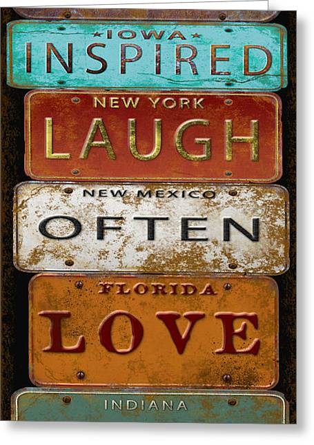 Old Signage Greeting Cards - Live Inspired-License Plate  Greeting Card by Jean Plout