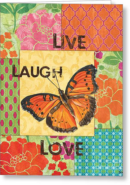 Patterns Paintings Greeting Cards - Live Laugh Love Patch Greeting Card by Debbie DeWitt